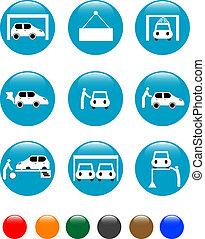 car Auto service blue button set icon - set of car Auto...