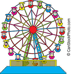 vector ferris wheel with happy children - vector...