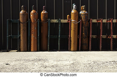 Industrial Gas Bottles-3 - Securely Stored & Chained...