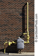 Gas Meter 110301_2342 - Commercial Gas Meter on a brick...