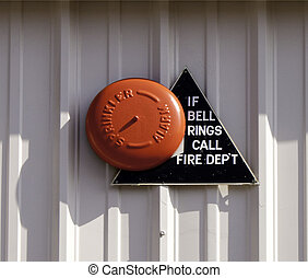 Orange Fire Alarm Bell - Orange Fire Alarm on a white...