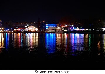 City lights - Colorful city lights with soft water...
