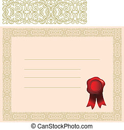 certificate with elaborate border - blank certificate with...