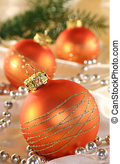 Christmas ball - Golden Christmas tree balls and pearl...
