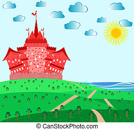 Fairytale landscape with red magic castle and sea