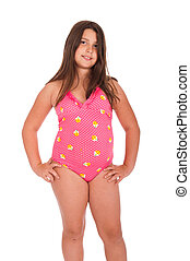 Girl in swimsuit - beautiful brunette teenage girl in...