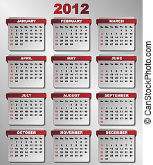 2012 Calendar in Dark Red and Grey Colors