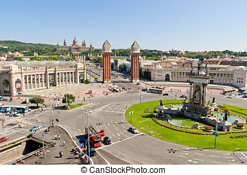 Placa Espanya in Barcelona and National Palace - Placa...