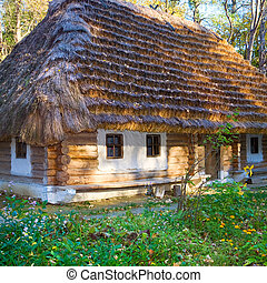 historical country wooden hut with thatched roof - Ukrainian...