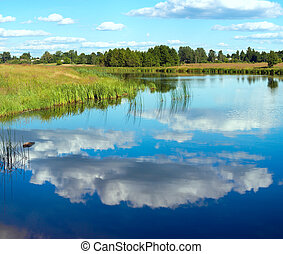 Summer rushy lake view with clouds reflections