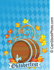 Oktoberfest design with keg - Decorative Oktoberfest design...