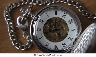 Old silver pocket watch. - Old silver pocket watch with the...