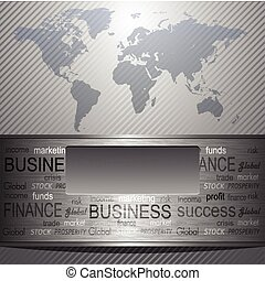 Business background grey metallic with world map, vector