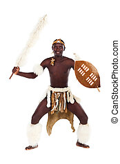 native african tribesman posing in studio