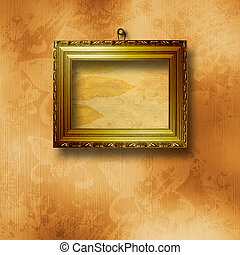 Old wooden frames for photo on the abstract paper background