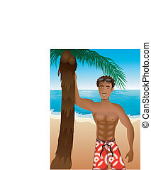 Beach Scene Guy - Vector Illustration of an athletic Beach...
