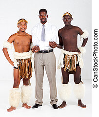 african businessman and tribesman - modern african...