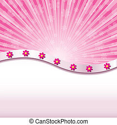 Pink abstract background with flowers, Vector illustration