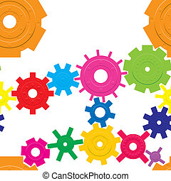 Seamless pattern with cogwheels, vector illustration