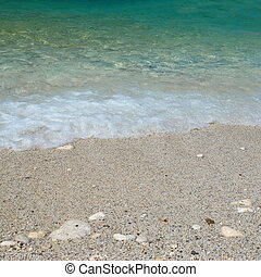 Sea sand beach - Tropical sand beach with sea waves and...