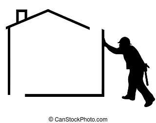 House  - silhouette of a man building a house