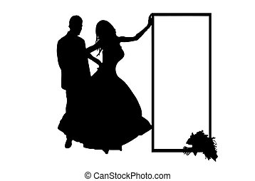 Wedding Couple Vector - wedding couple silhouette isolated...