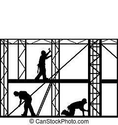 Construction Workers - construction workers isolated on...