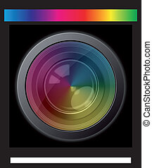 camera lens - illustration of camera lens with spectrum...