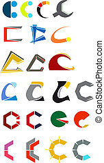 Alphabet letter C - Set of alphabet symbols and elements of...