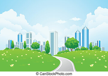 Green landscape with city road and trees