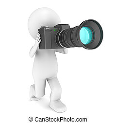 3d little human character with a camera. Isolated