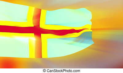 Flag of Aland Islands - Flag of the Aland Islands waving in...