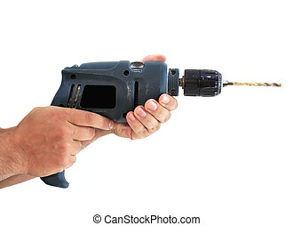 man´s hands with a dirty electric drill