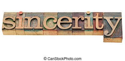 sincerity word - sincerity - isolated word in vintage wood...
