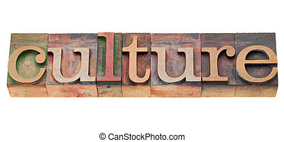 culture word - culture - isolated word in vintage wood...
