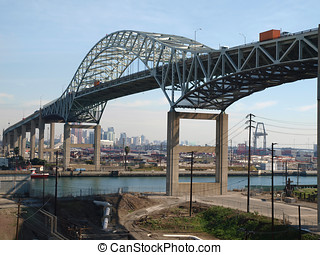 Long Beach Bridge - Metal span bridge in and industrial...