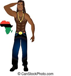 Rasta Afrocentric Man - Vector Illustration of an...