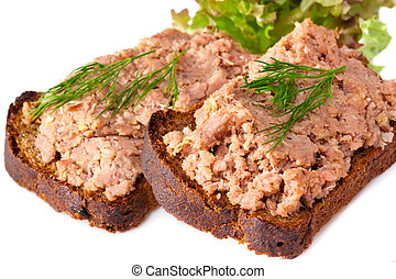 pate on bread - pate with a bread and green salad
