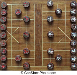 chess pieces - chinese chess pieces in starting position