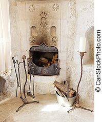 Cave interior olde worlde fireplace - architectural detail...