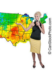 Weather Girl - A beautiful woman weather girl with a...