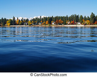 A Mountain Lake Under a Deep Blue Sky Coeur d'Alene Idaho...
