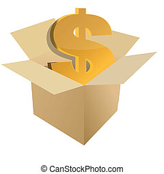 Cardboard box with dollar sign