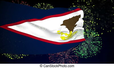 Flag of American Samoa - Flag of the American Samoa waving...
