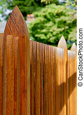 Hardwood Machined Fence - Narrow dept of field view of a...