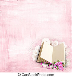 Pink roses on book