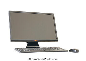 Isolated computer monitor, keyboard and mouse