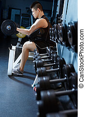 weight lifting - asian man exercising in gym using barbell