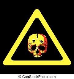 Danger sign - A human skull warning sign over black