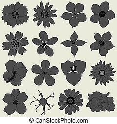 Flower petal flora icon - A set of flower type in grey shade...